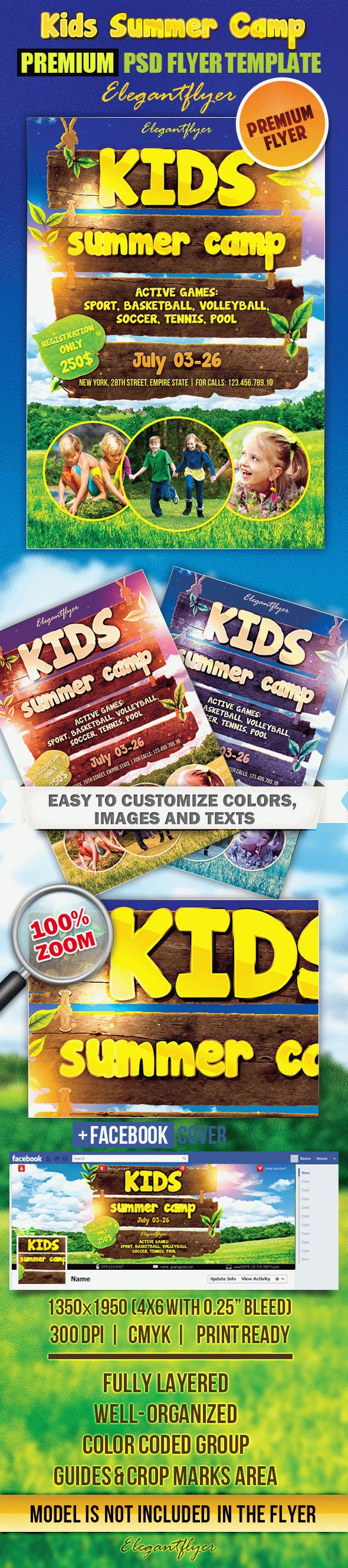 Kids Summer Camp 2 – Flyer PSD Template + Facebook Cover