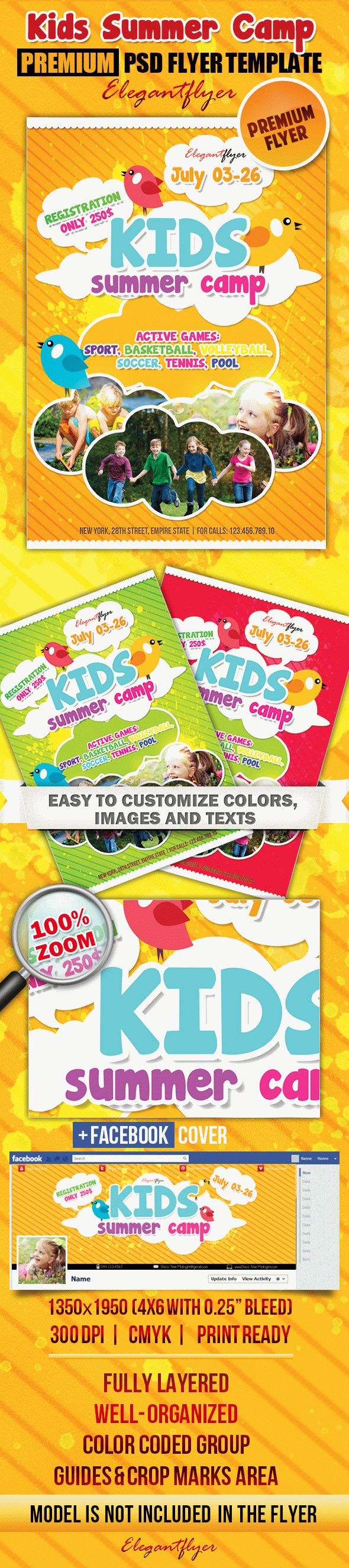 Kids Summer Camp PSD Flyer Templates Facebook Cover by – Summer Flyer Template