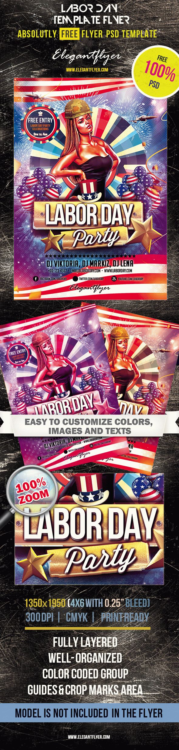 Labor Day – Club and Party Free Flyer PSD Template