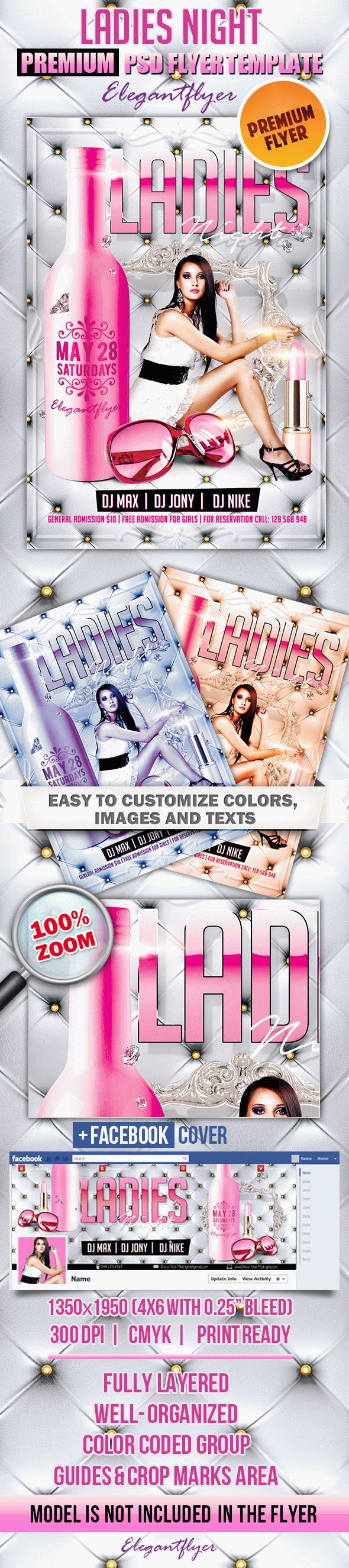Ladies Night Party 2 – Flyer PSD Template + Facebook Cover