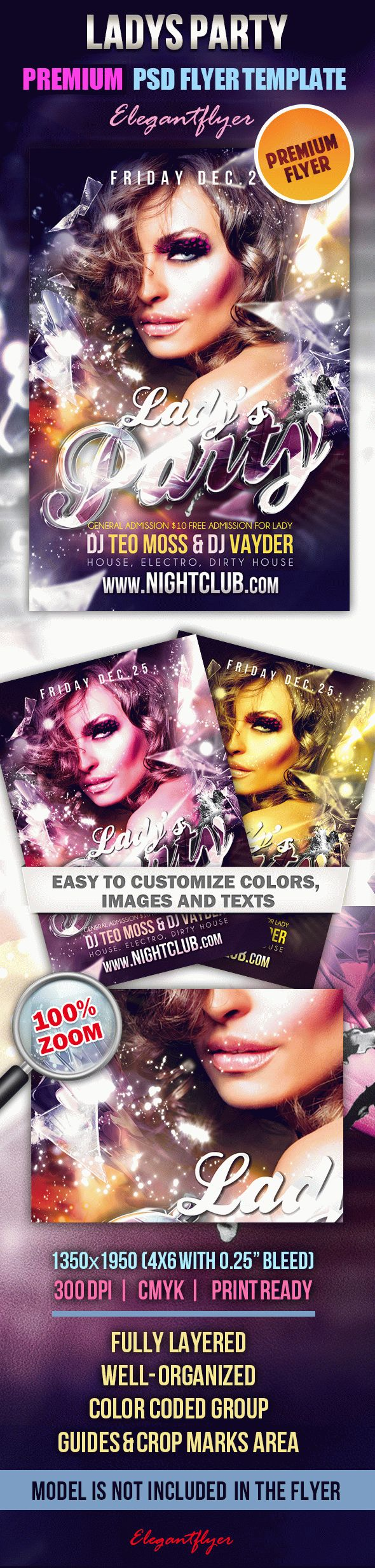 Ladys Party – Premium Club flyer PSD Template