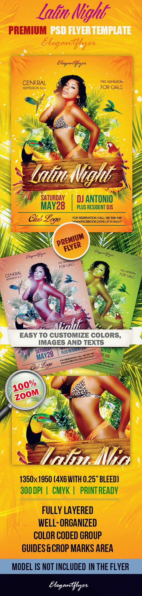 Latin Night – Premium Club flyer PSD Template