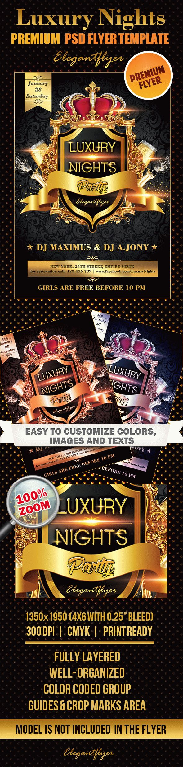 Luxury Nights Party – Premium Club flyer PSD Template