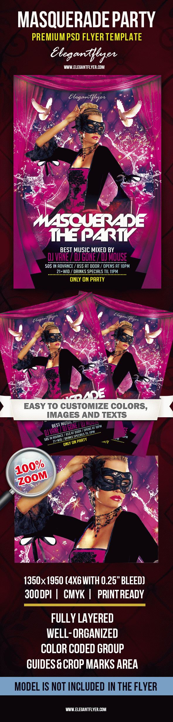 Masquerade Party – Premium Club flyer PSD Template
