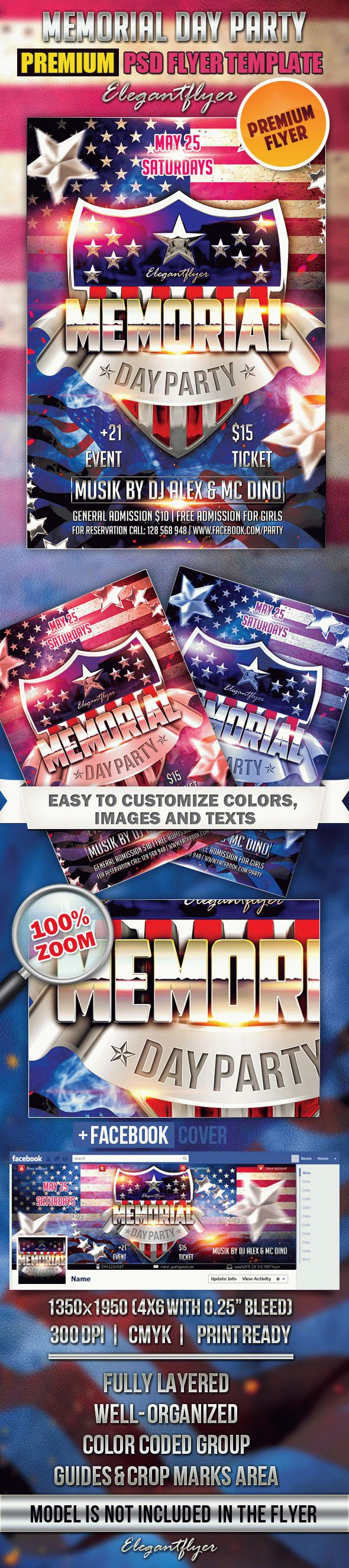 Memorial Day Party 2 – Flyer PSD Template + Facebook Cover