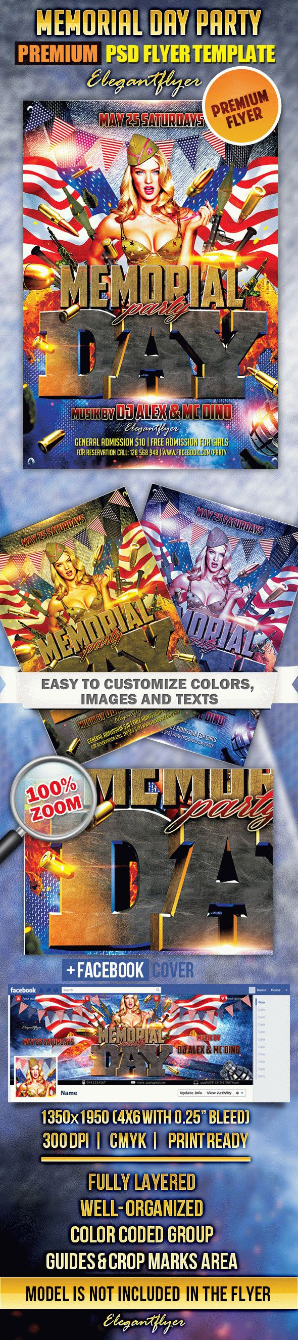 Memorial Day Party – Flyer PSD Template + Facebook Cover