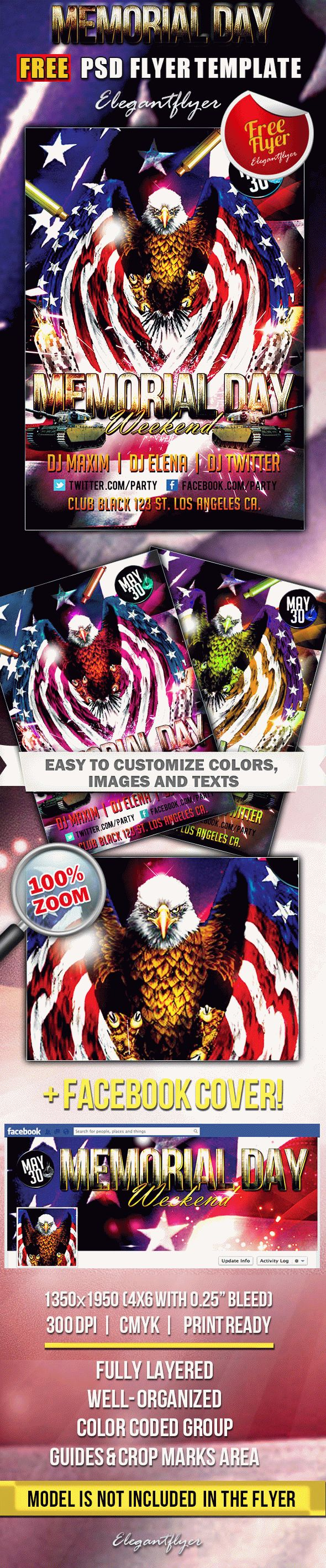 Memorial Day Weekend – Free Flyer PSD Template + Facebook Cover