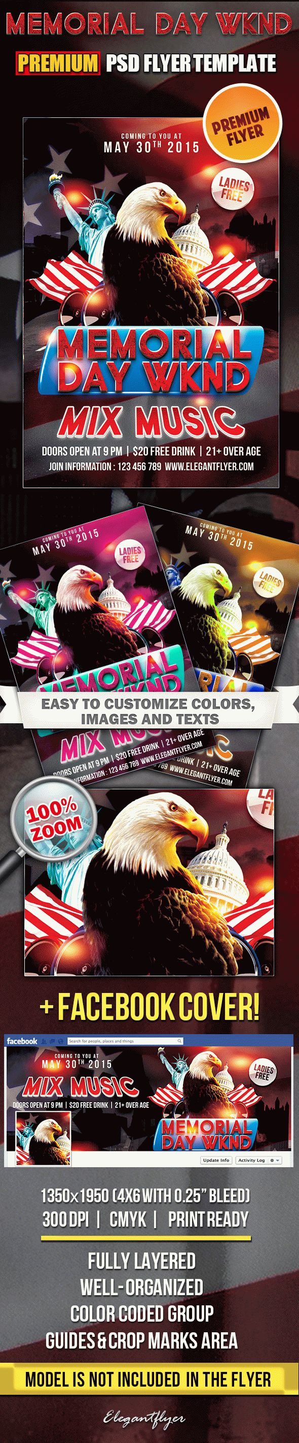 Memorial Day WKND – Flyer PSD Template + Facebook Cover