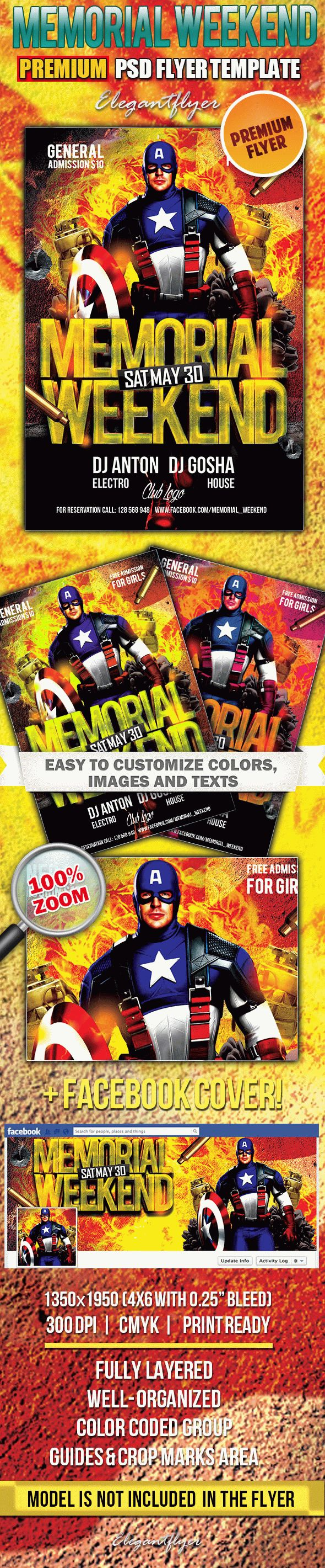 Memorial Weekend – Premium Club flyer PSD Template + Facebook Cover