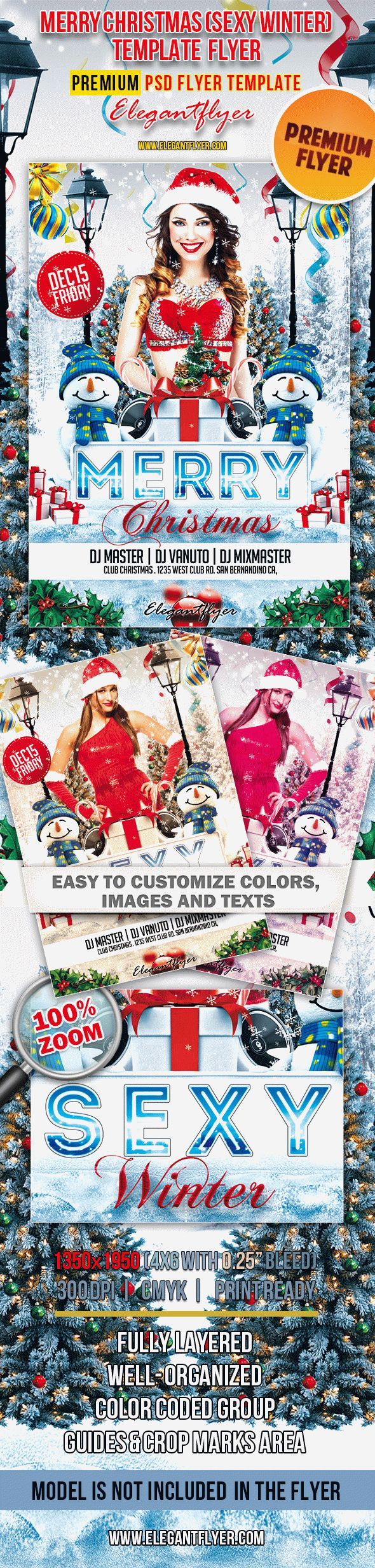 Merry Christmas (Sexy Winter) – Premium Club flyer PSD Template (bundle 2 in 1)