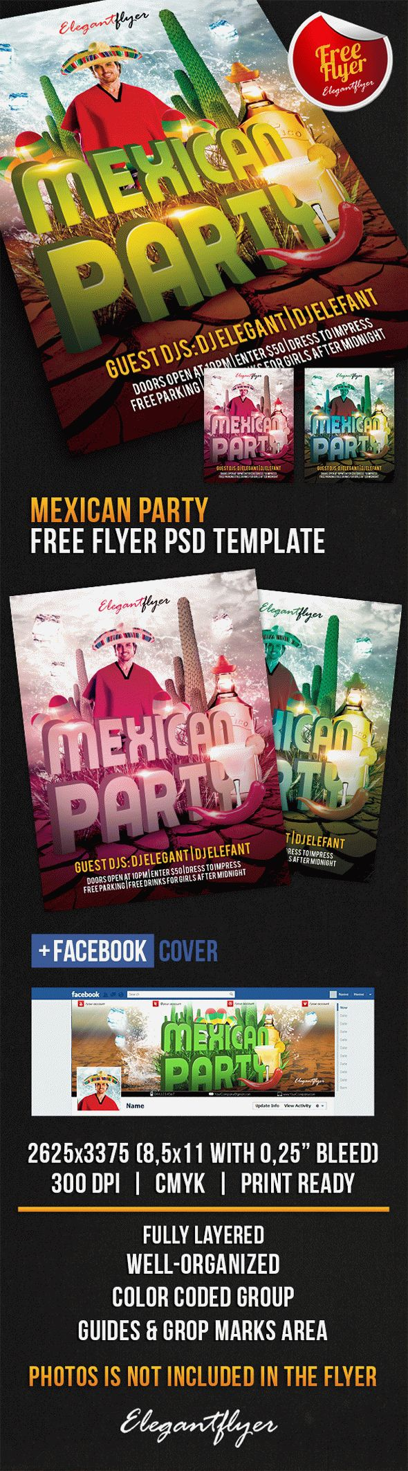 Mexican Party - Free Flyer PSD Template + Facebook Cover