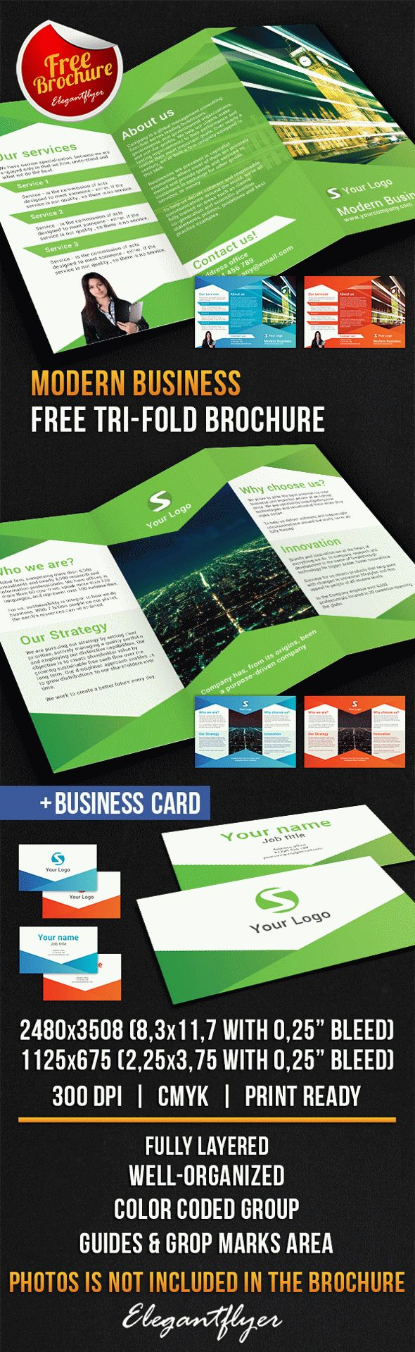 Modern Business Tri-Fold Brochure – Free PSD Template
