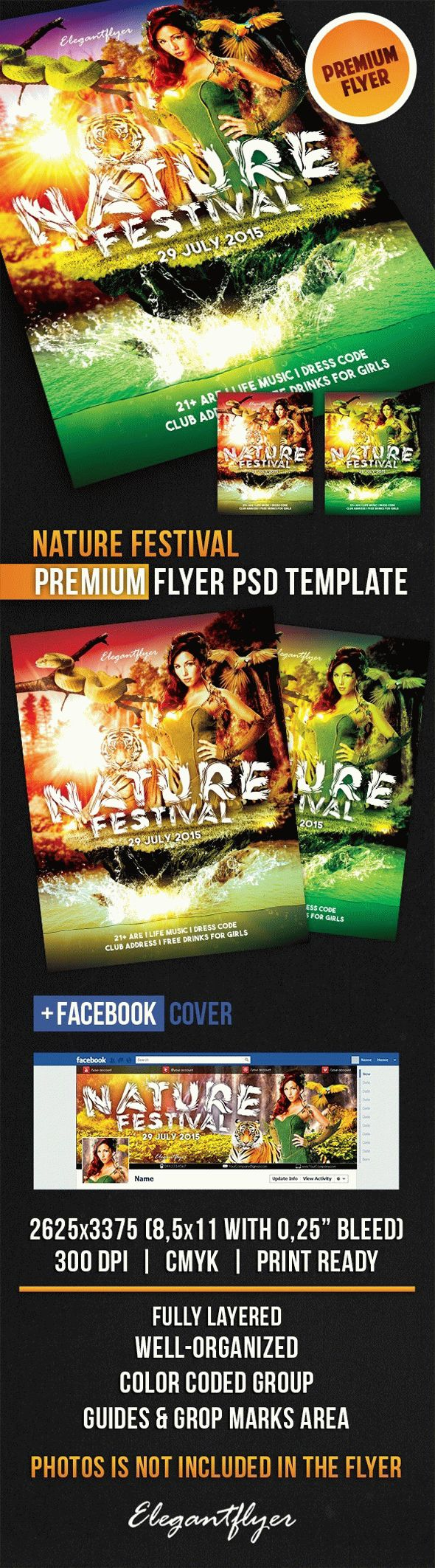 Nature Festival – Flyer PSD Template + Facebook Cover