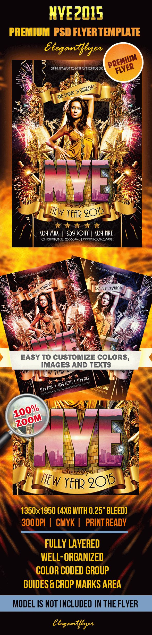 New Year 2015 – Premium Club flyer PSD Template