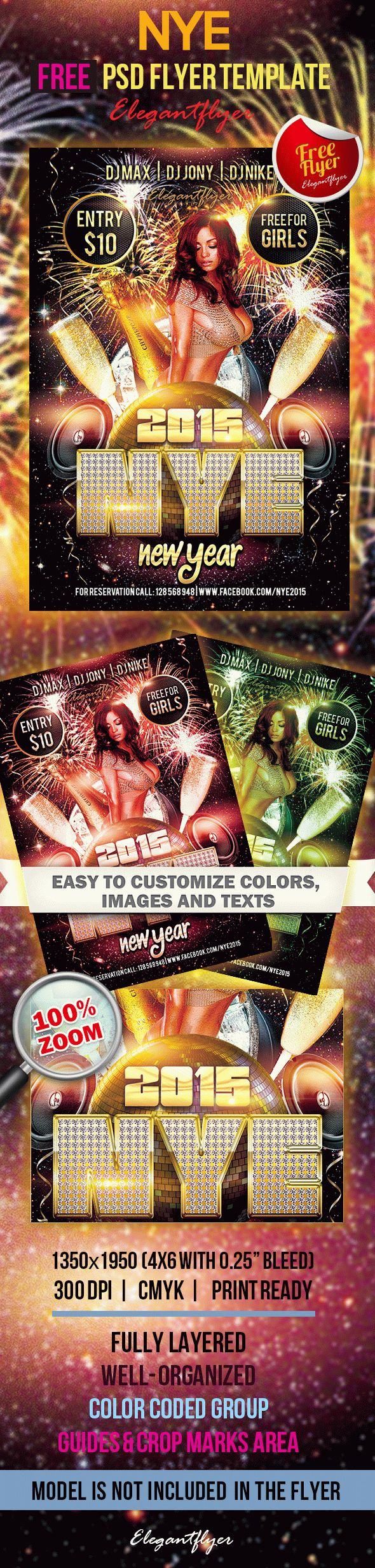 new year free club and party flyer psd template