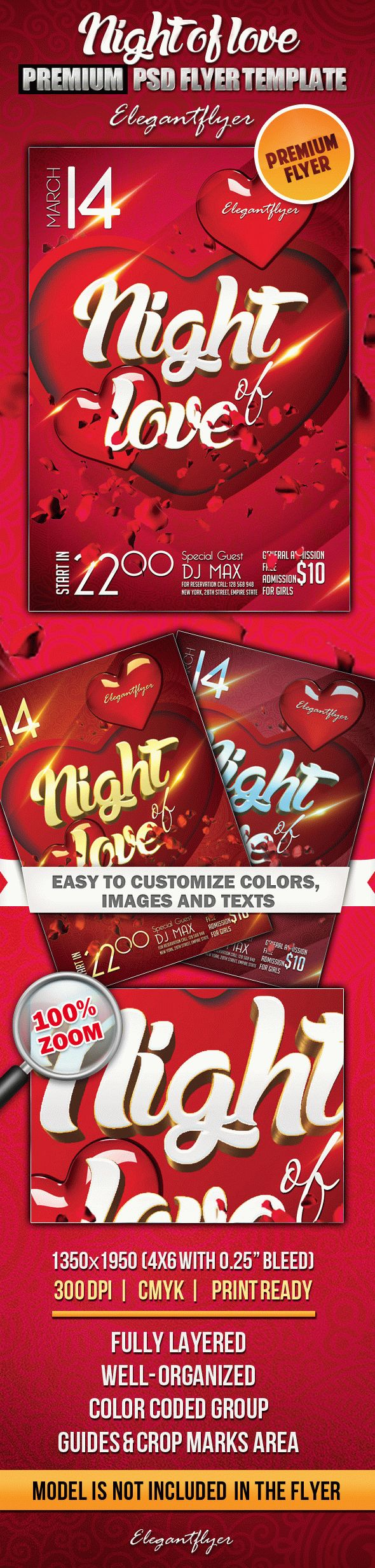 Night of love – Premium Club flyer PSD Template
