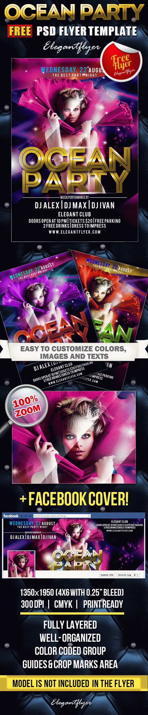Ocean Party – Free Flyer PSD Template + Facebook Cover