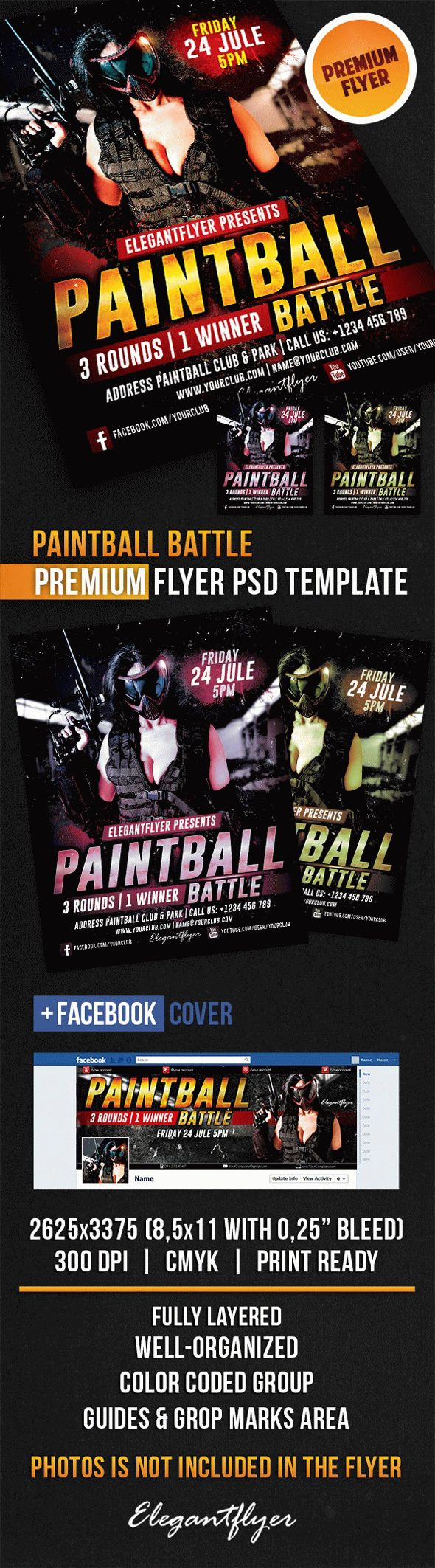 Paintball Battle – Flyer PSD Template