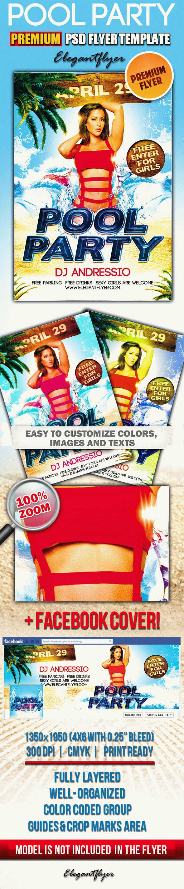 Pool Party – PSD Flyer Templates + Facebook Cover