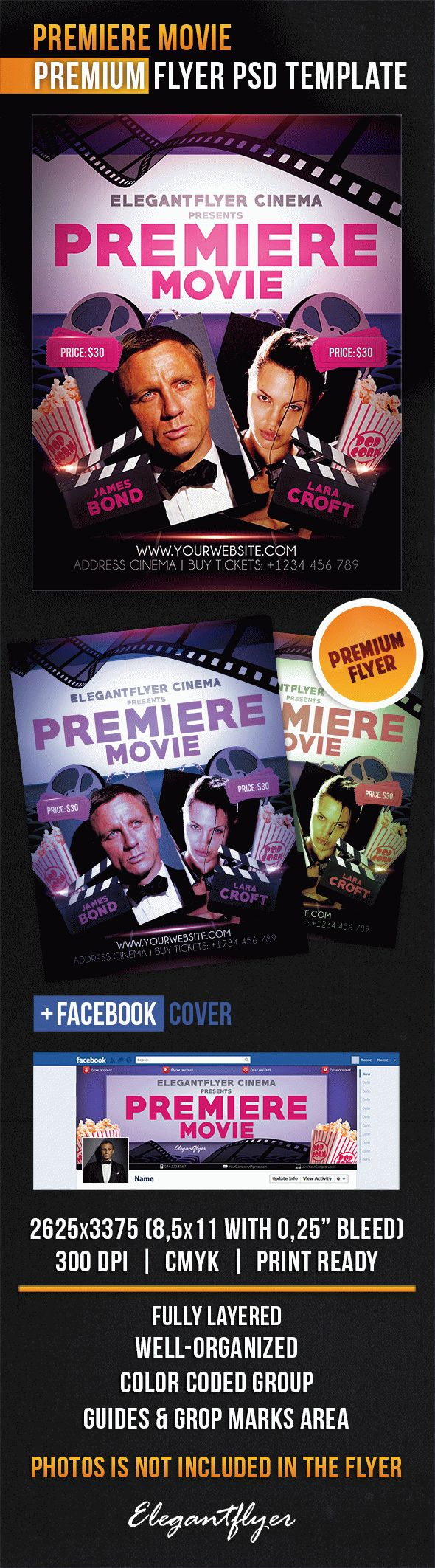 Premiere Movie – Flyer PSD Template + Facebook Cover