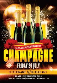Champagne Friday Party – Free Club and Party Flyer PSD Template