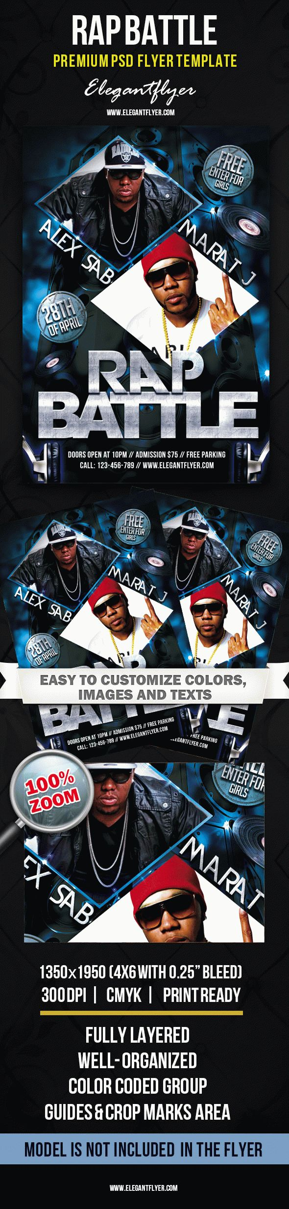 Rap Battle – Premium Club flyer PSD Template