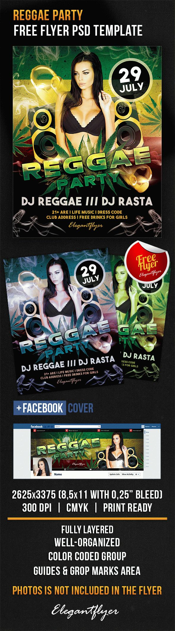 Reggae Party – Free Flyer PSD Template + Facebook Cover