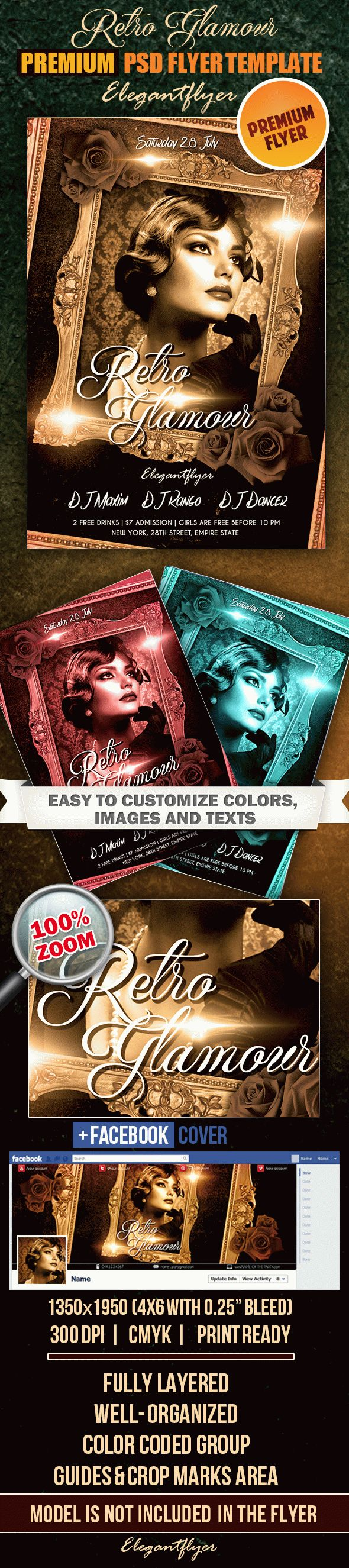 Retro glamour – Flyer PSD Template