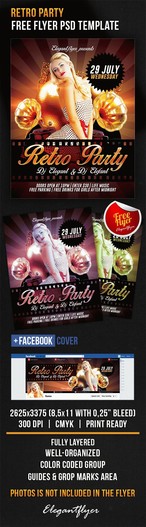Retro Party – Free Flyer PSD Template + Facebook Cover