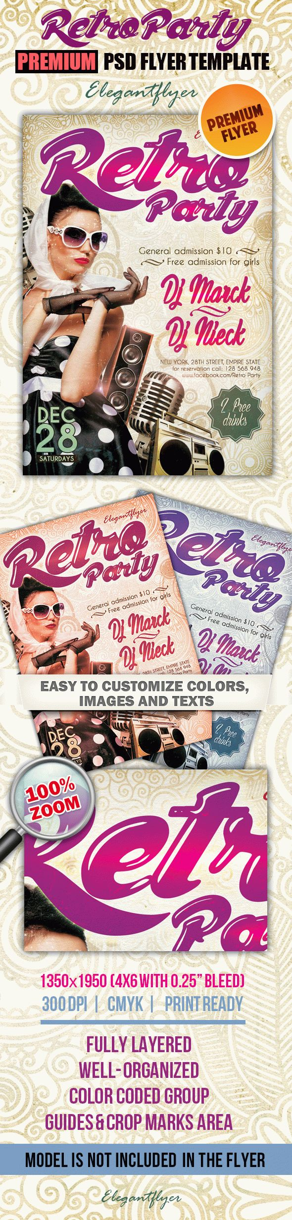 Flyer Template for Retro Party Club