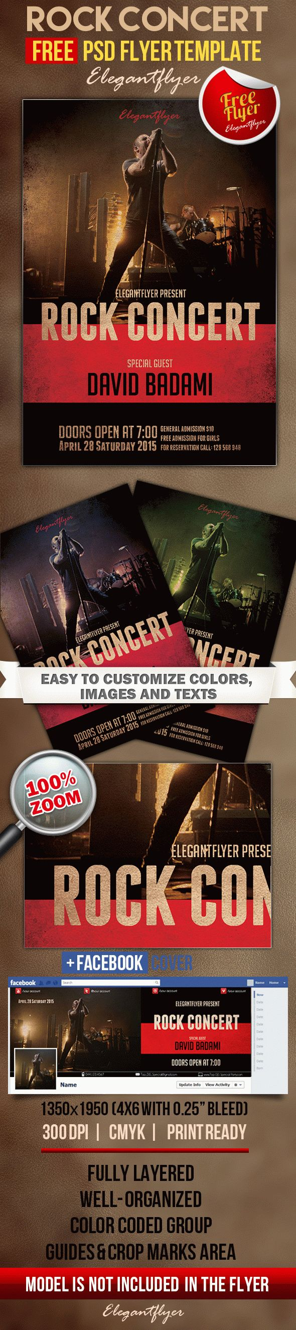 Rock concert – Free Flyer PSD Template + Facebook Cover