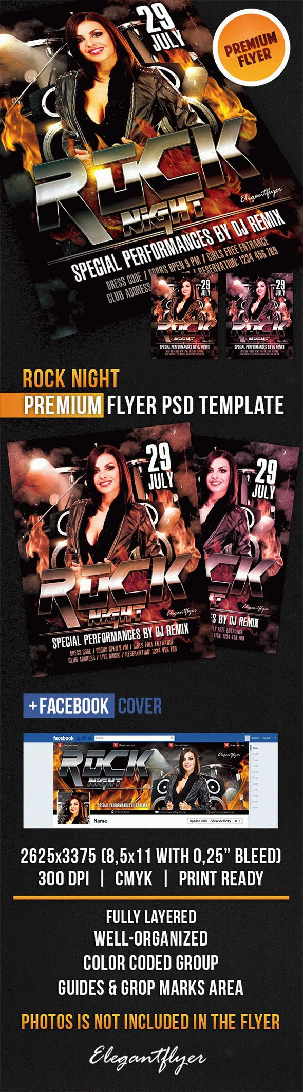Rock Night – Flyer PSD Template + Facebook Cover