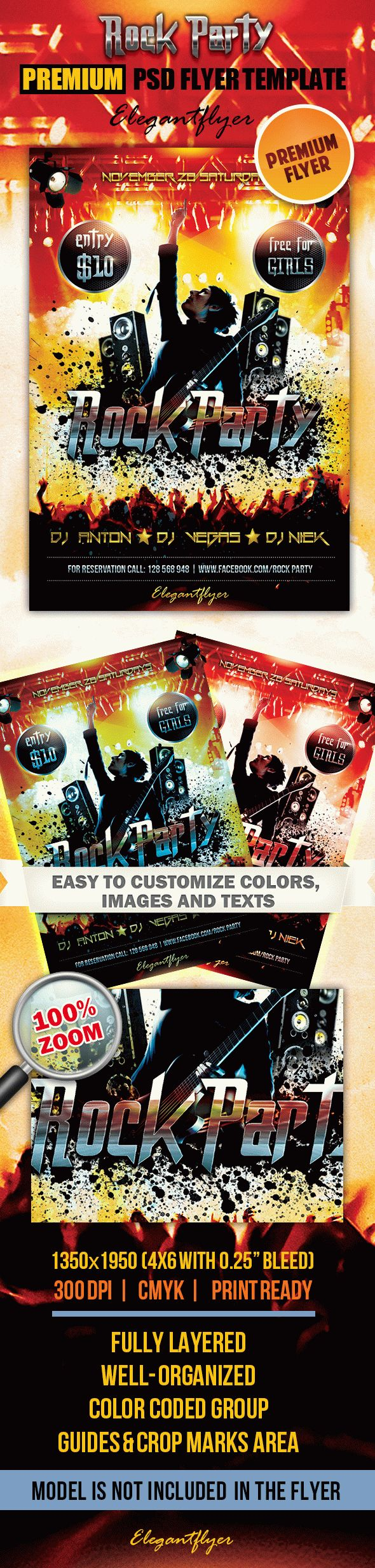 Rock Party – Premium Club flyer PSD Template