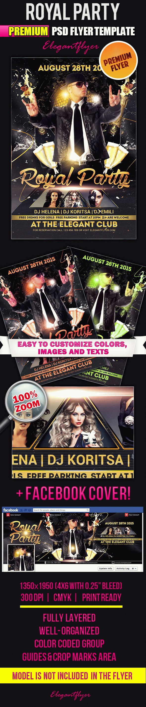 Royal Party – Flyer PSD Template + Facebook Cover