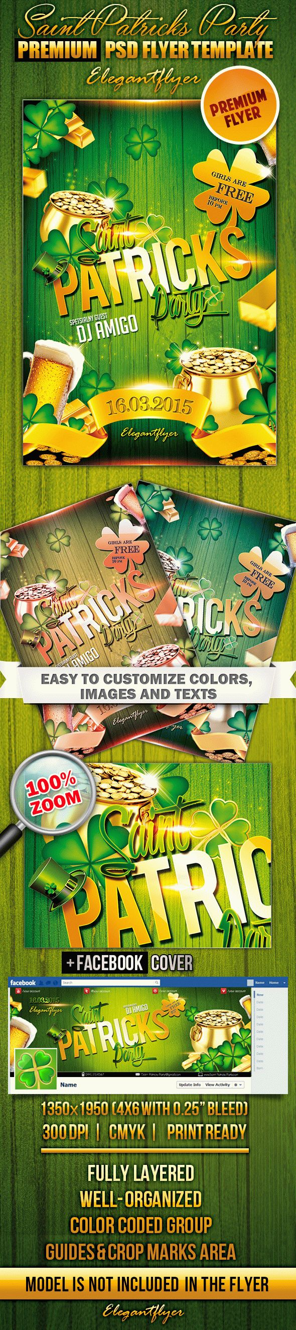 Saint Patricks Party – Flyer PSD Template + Facebook Cover
