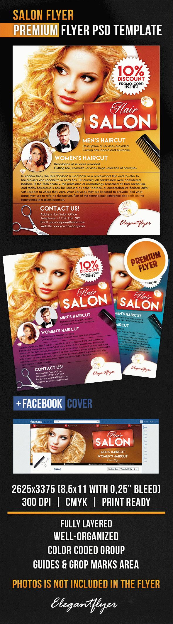 Salon Flyer – Flyer PSD Template + Facebook Cover