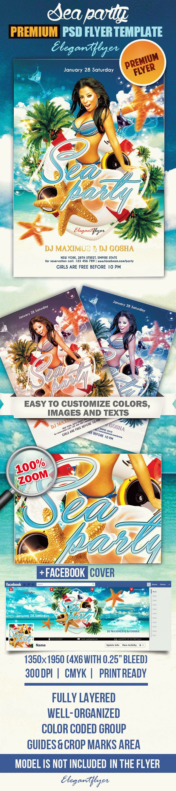Sea party – Flyer PSD Template + Facebook Cover