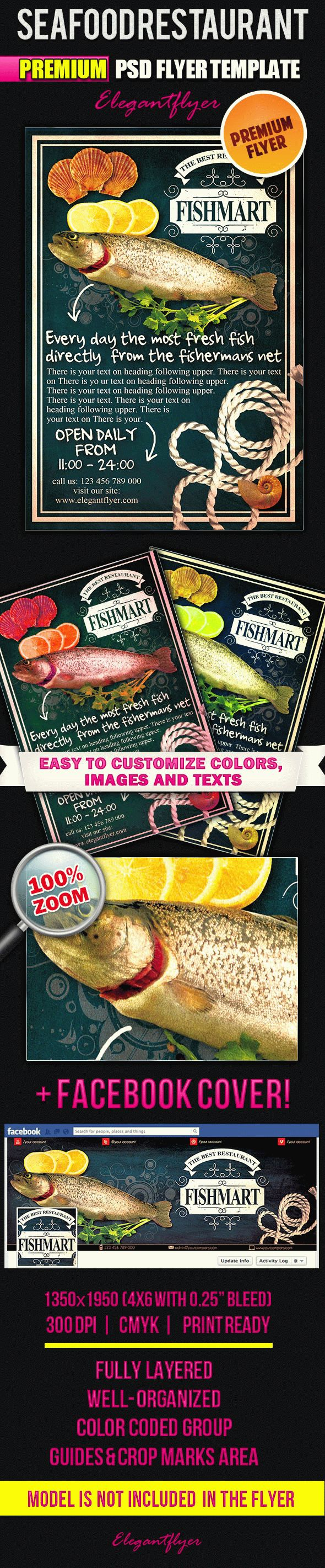 Seafood Restaurant – Flyer PSD Template + Facebook Cover