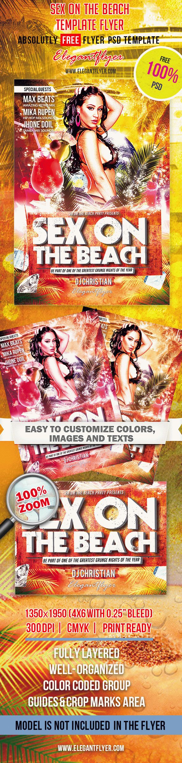 Sex On The Beach – Club and Party Free Flyer PSD Template