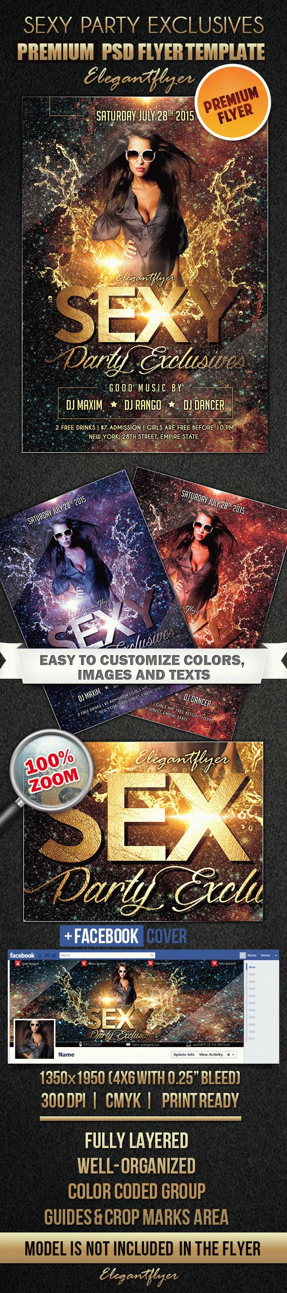 Sexy Party Exclusives – Flyer PSD Template + Facebook Cover