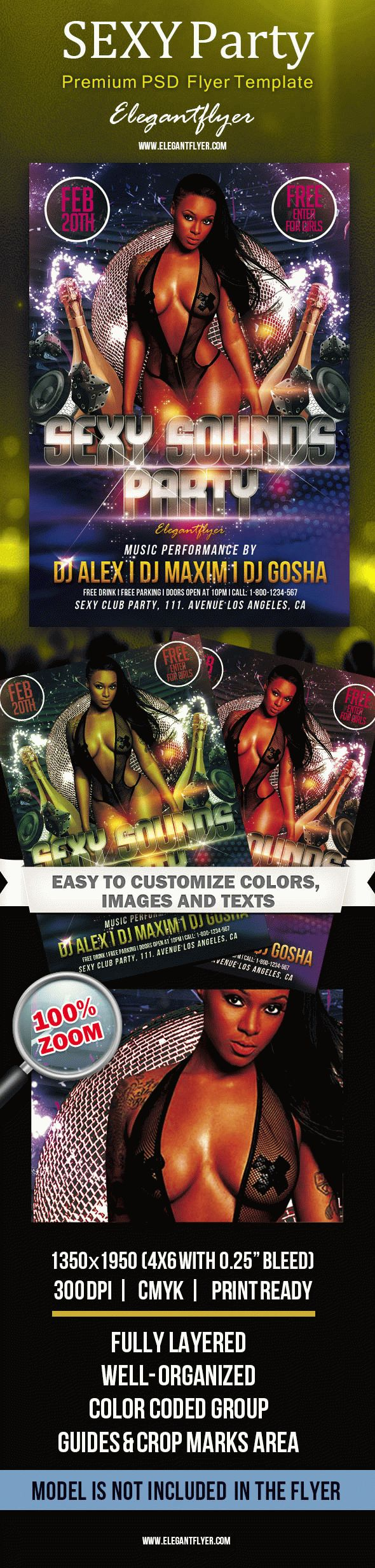 Sexy Sounds Party – Premium Club flyer PSD Template