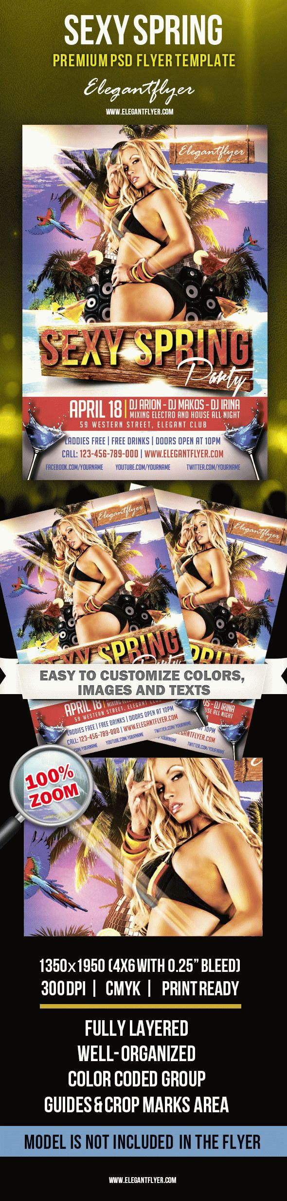 Sexy Spring – Premium Club flyer PSD Template