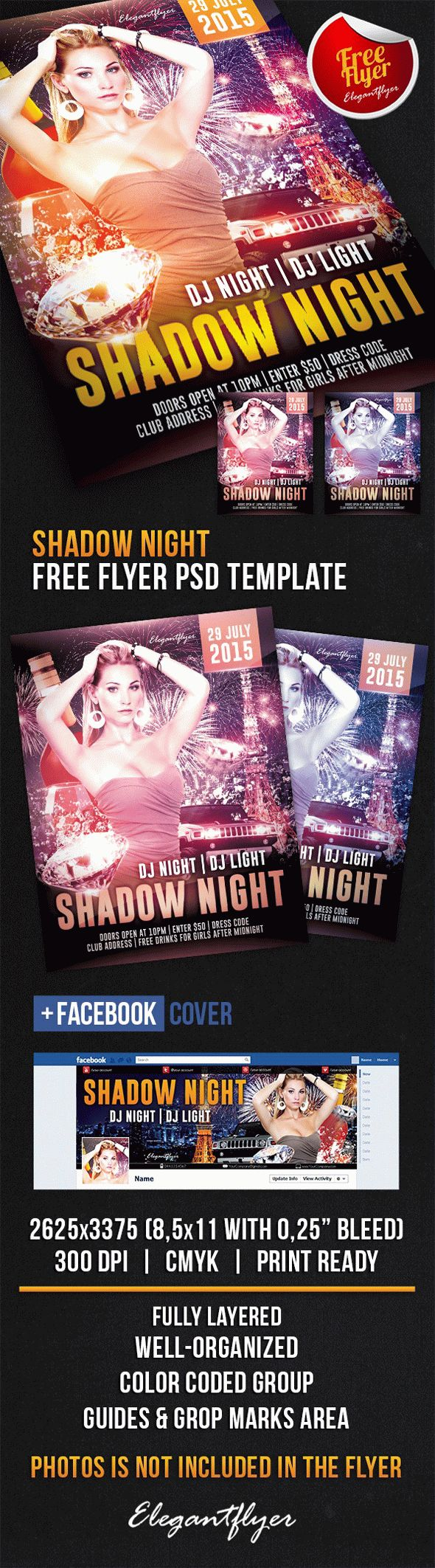 Shadow Night – Free Flyer PSD Template + Facebook Cover