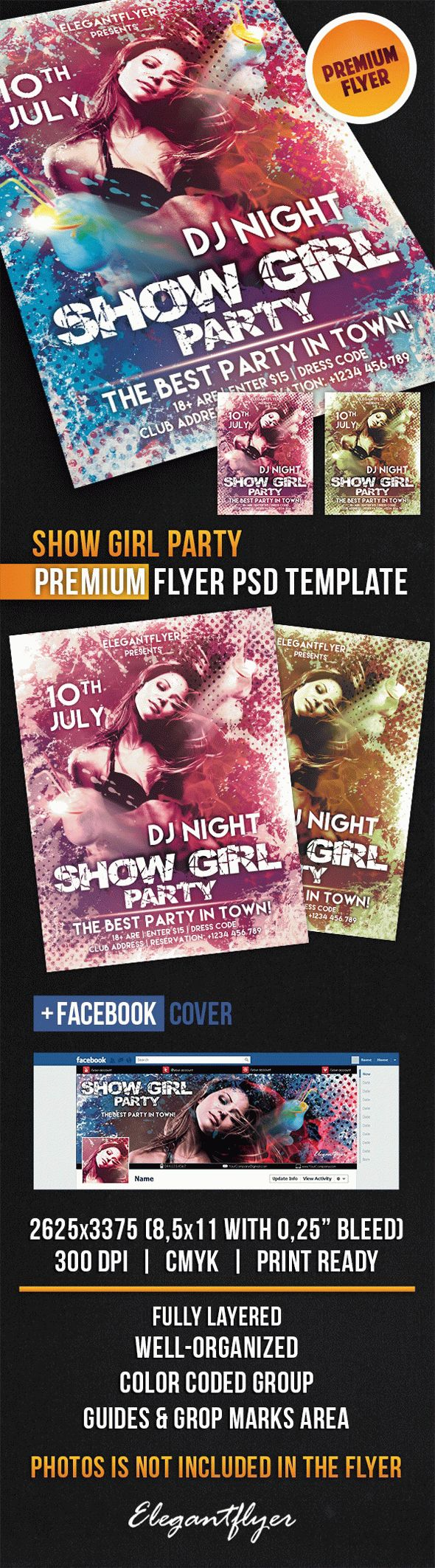 Show Girl Party – Flyer PSD Template + Facebook Cover
