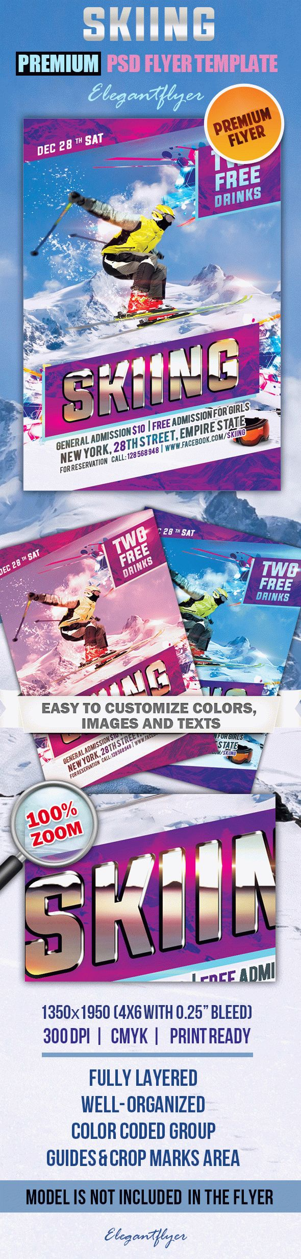 Skiing – Premium Club flyer PSD Template