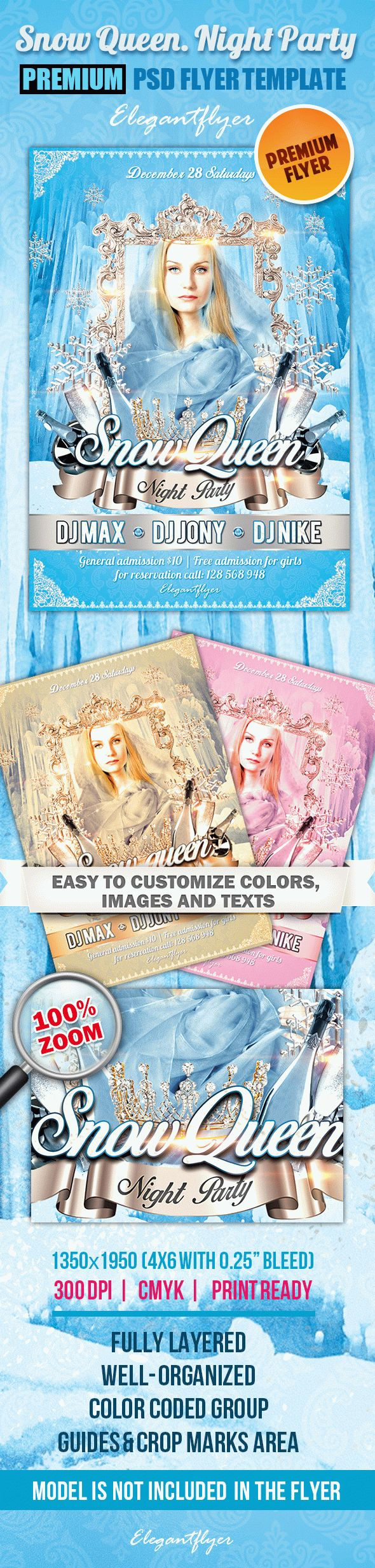 Snow Queen. Night Party PSD Template