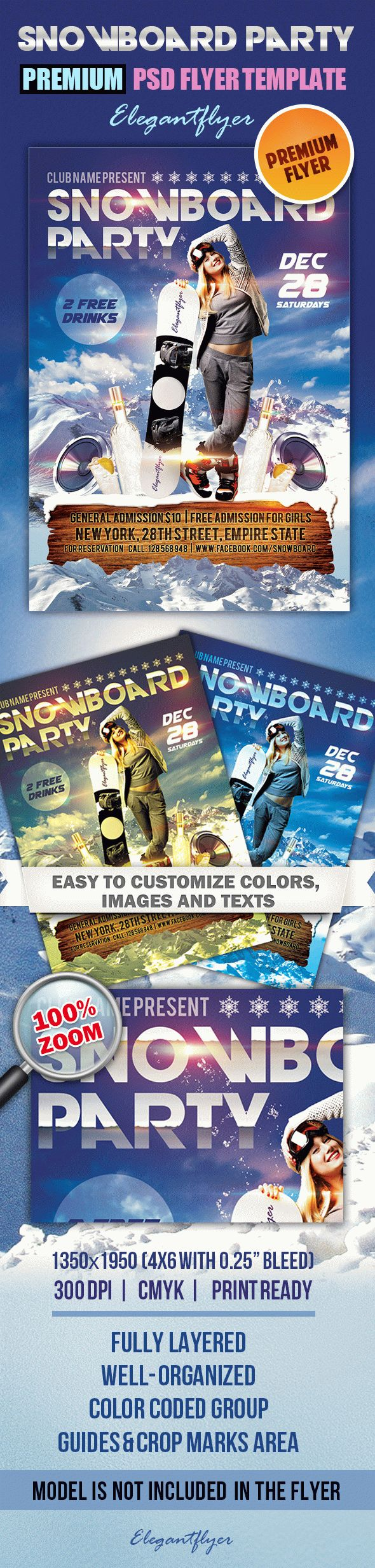 Snowboard Party – Premium Club flyer PSD Template