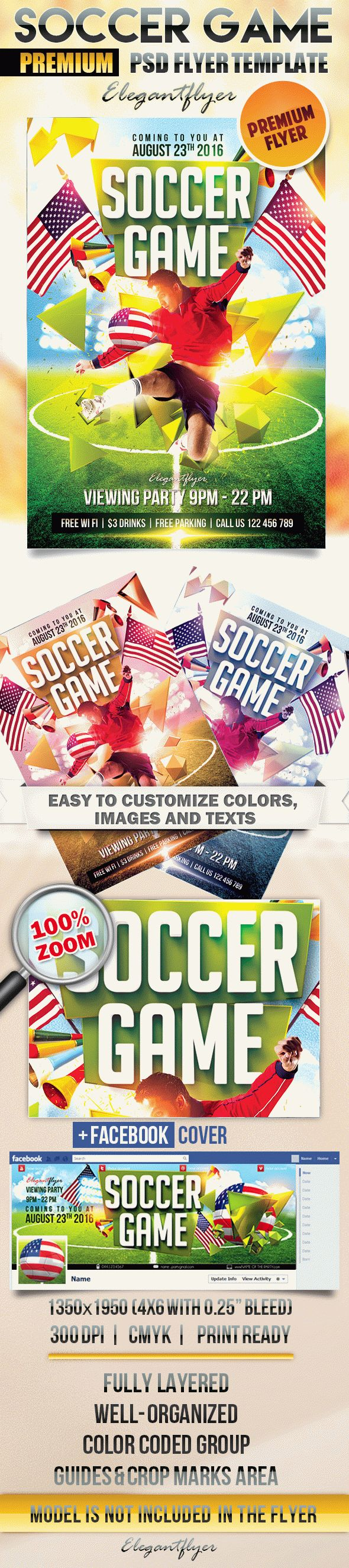Soccer Game 2 – Flyer PSD Template + Facebook Cover