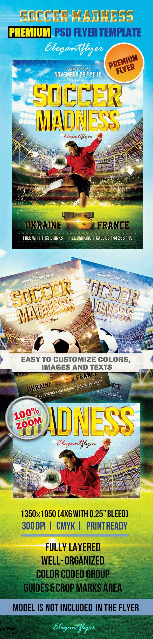 Soccer Madness – Premium Club flyer PSD Template