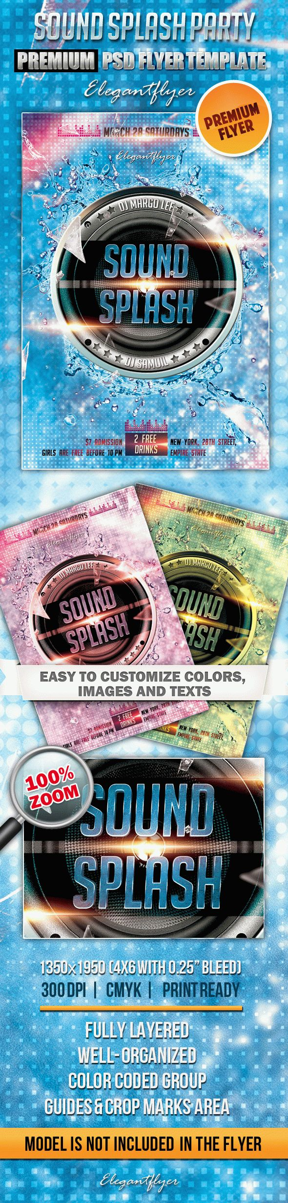 Sound Splash Party – Premium Club flyer PSD Template